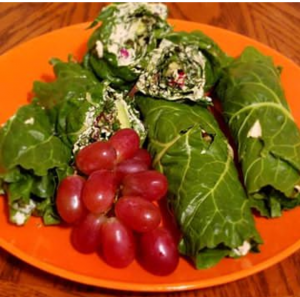 Collard Wraps with Vegan cheese and fresh grapes